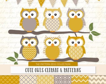 Patterned Mustard Owls Clipart and Digital Papers - Yellow Owl Clipart, Owl Vectors, Baby Owls, Cute Owls