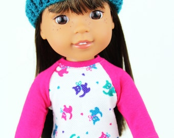 Fits like Wellie Wishers Doll Clothes - Kitten Raglan Tee, Purple Leggings, and Teal Beanie   14.5 Inch Doll Clothes
