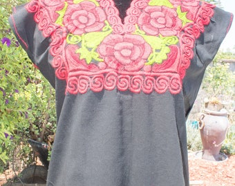 Black-- Traditional Mexican Embroidered shirt. Small/Medium.