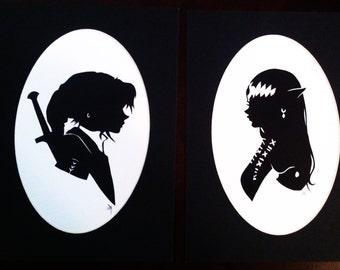 Legend of Zelda silhouette print set
