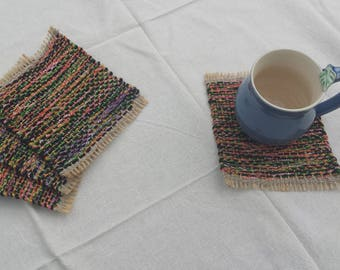 Mug Rugs, upcycled handwoven coasters, black, orange, pink, green and beige drink coaster gift set