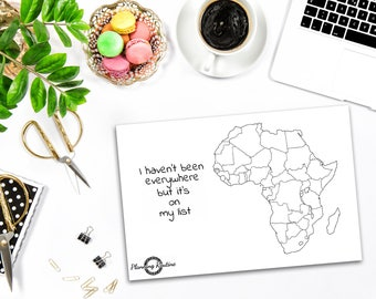 Africa Planner Stickers, Map of Africa, Map of the world, Travel Tracker