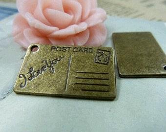 20 pcs 15x26mm  The Post card Antique Bronze Pendant C1555