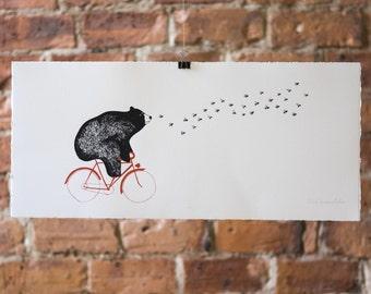 Bear on the Bike. (In Pursuit of Honey). Bees. Original Silk Screen Print.
