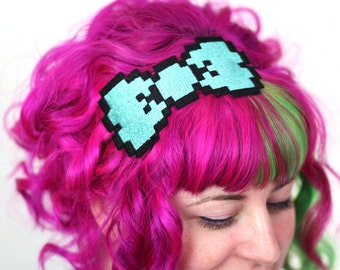 8 Bit Bow Headband, Pixel Bow, Various Colours