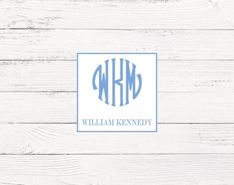 Blue monogrammed enclosure cards for boys