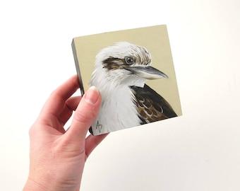 Lachende Kookaburra - australischen Vogel Tierwelt Kunst - Malerei realistische Kookaburra Block original - kleines Gemälde - Schreibtisch Kunst