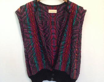 1980s multicolored handwoven vest by BARBARA HOLLOWAY