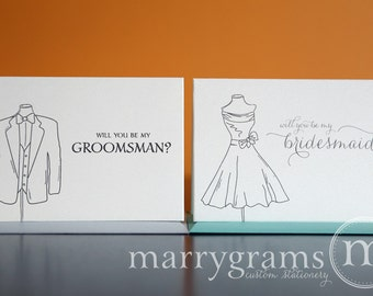 Will You Be My Groomsman, Best Man, Wedding party, Usher, Ring Bearer - Fun Bridal Party Tuxedo Suit Cards - Groomsmen Ask Cards (Set of 4)