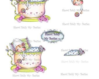 INSTANT DOWNLOAD Digital Digi Stamps Big Eye Big Head Dolls NEW Sweet Treats Besties Tea Cup Bestie 3d deco sheet  Besties By Sherri Baldy
