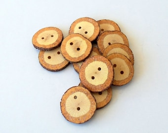 Wood Buttons - Branch Buttons - Handmade Wood Buttons-12 Large Handmade Blackjack Tree Branch Buttons with the bark- 1 2/5 inches diameter.