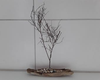 "Decoration of driftwood, ""the driving sapling"", 100% nature, art from nature"