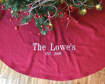 Personalized Christmas Tree Skirt   Red Linen Tree Skirt   Monogrammed Red Christmas  Tree Skirt