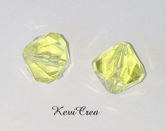6 x 14mm faceted yellow acrylic bicone beads