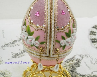 1 pc Decorated Egg EleganceJewelry Box.Pink.