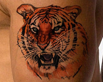 Temporary Tattoo-Fierce Tiger Tattoo-Gifts for Men-Tattoo Sticker-Gifts for Women