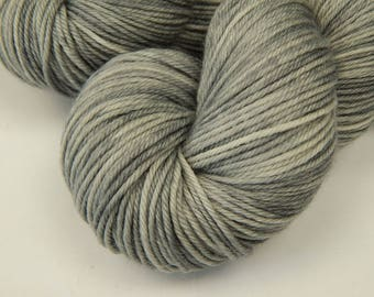 Hand Dyed Yarn, Sport Weight Superwash Merino Wool - Silver Lining - Indie Dyed Tonal Light Grey Gray