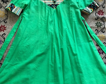 1960s mini dress bright green / small