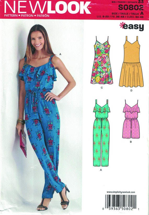 New Look S0802, Sewing Pattern, Summer Wardrobe, Sizes 8-20,Easy to ...