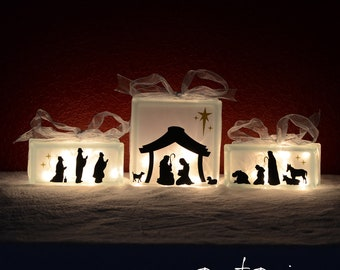 Nativity Scene Vinyl Lettering - fits perfect on 8x8 inch KraftyBlok or glass block and two 4x8 inch blocks