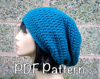PATTERN:  Autumn Slouch-  Unisex slouchy beanie hat P D F, easy crochet pattern, InStAnT DoWnLoAd, Permission to Sell