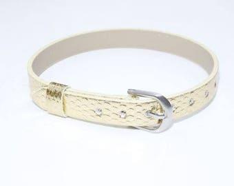 Faux Gold Leather Bracelet
