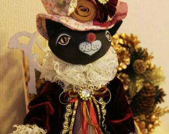 "OOAK Art Doll "" Black Cat Aristocrat"""