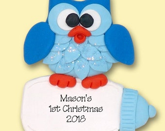 Pink Owl with Heart /  Baby / Boy HANDMADE POLYMER CLAY Personalized Christmas Ornament Limited Edition