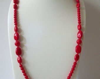ON SALE Retro Vivid Red Czech Glass Beads Heavier Long Single Strand Necklace 110716