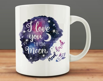 Statement Gift Wife, I Love You to the Moon and Back mug, sweet love mug, Christmas girlfriend gift (M661-rts)