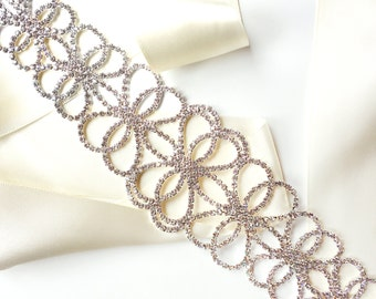 Sash - Wide Romantic Crystal Wedding Dress Sash - Rhinestone Encrusted Bridal Belt Sash - Crystal Extra Wide Long Wedding Belt