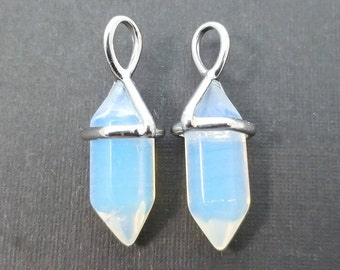 2 pc, 24x9mm, Opalite Spike Pendant Charm, Silver Plated - PC-0216