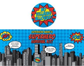 Superhero Paint Bucket Label