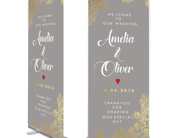 Grey  Gold Lace detail Wedding Welcome Banner