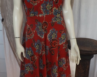 Red 1950's  Rayon Dress
