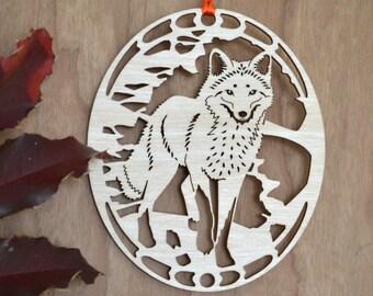Wood fox ornament wood cut fox decoration Red Fox ornament