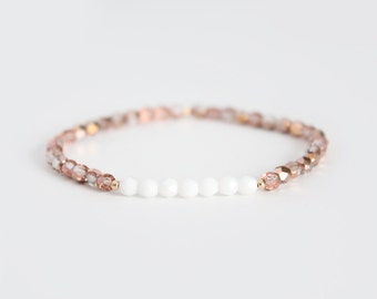 Champagne and White Beaded Bracelet - Gold Filled or Sterling Silver - Naeva