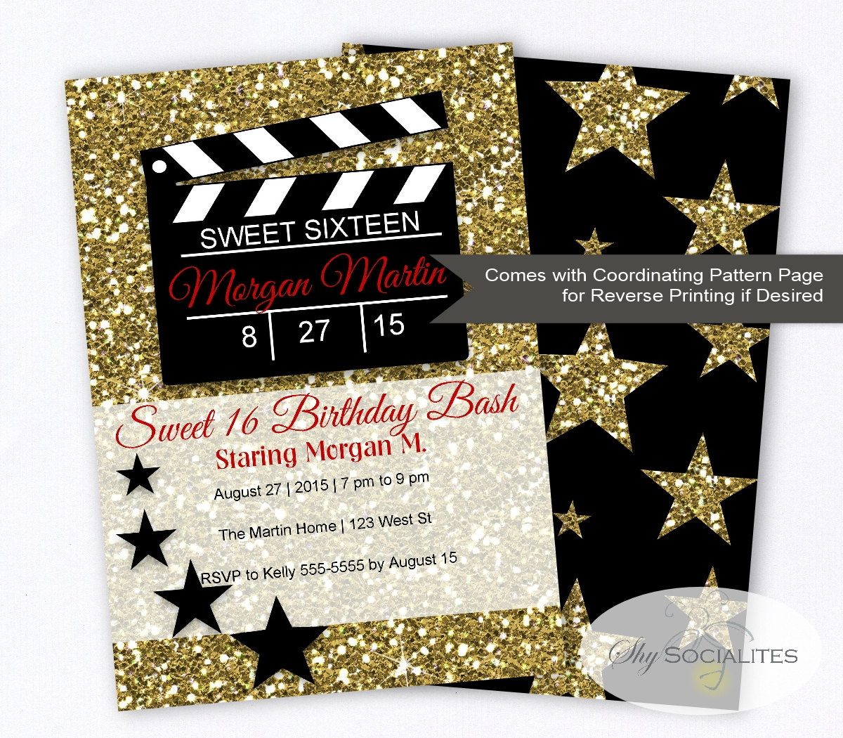 Hollywood Glamour Movie Party Invitation Sweet SIxteen