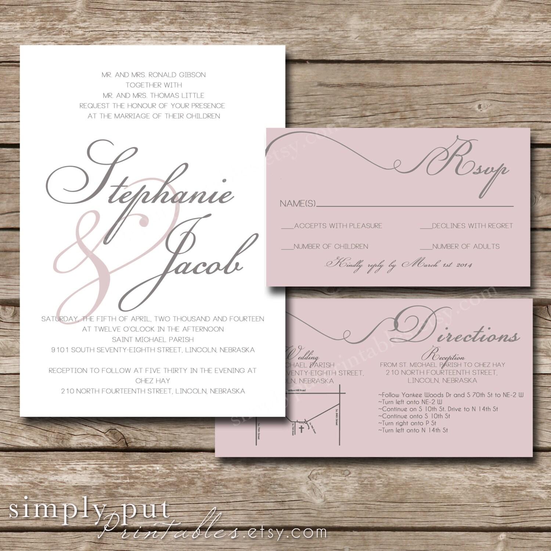 White Blush Pink Gray Wedding Invitation Suite Modern Script