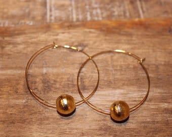 Thin Gold Hoop Earrings with Brushed Gold Bead   Large Hoops Earrings, Hoop Earrings, Ultra Thin Gold Hoops   Delicate Hoop Earrings