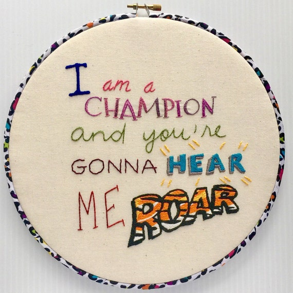Hear Me Roar Hand Embroidered Hoop Art, Feminist, Girl Power, Resist, Protest, Whimsical, Hand Embroidered