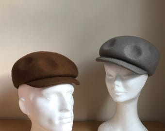 Womens and mens felt hat, 1920s newsboy style cap, grey wool felt cap