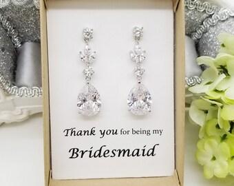 Teardrop with Long leaves Cubic Zirconia Earrings, Bridesmaid earrings gift