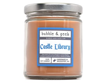 Castle Library Scented Soy Candle Jar - books, fireplace, antique woodwork