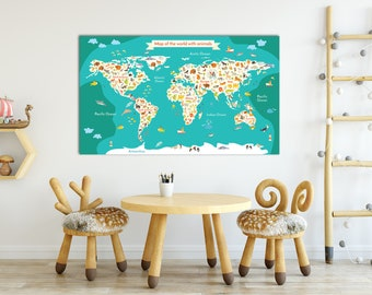 World map nursery etsy canvas nursery animal world map for kids room decor animal wall map world map nursery map gumiabroncs Image collections