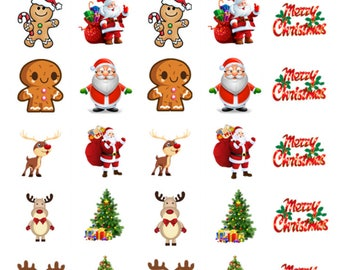 30 x Christmas Mixed Edible Stand Up Wafer Cupcake Toppers x 30