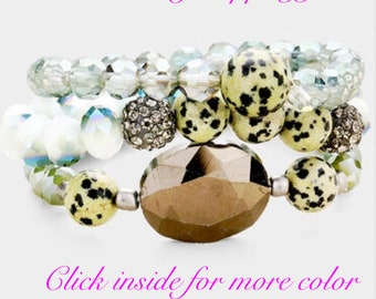 3LAYERS SEMI PRECIOUS FACETED Beaded Stretch Bracelet