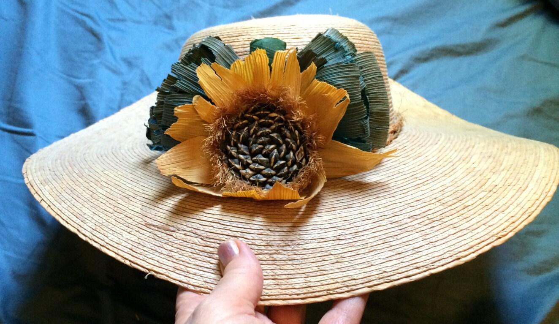 Sonnenblume Hut breiten Krempe Strohhut Blumenhut Designer