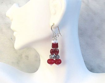 Red and Silver Earrings with Sterling Silver Wires, Beaded Drop Earrings, Red White Silver Jewelry, Valentine's Day Gift for Her 2in