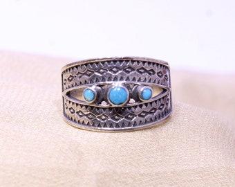 Turquoise Ring, 925 Silver Ring, Blue Gemstone Ring, Round Stone Ring, Oxidised Silver Ring, Evil Eye Ring, Arizona Turquoise Ring